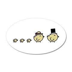 Chicken Family 22x14 Oval Wall Peel