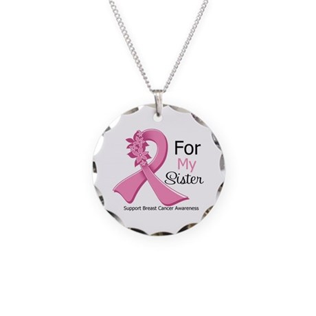 Sister Breast Cancer Ribbon Necklace Circle Charm