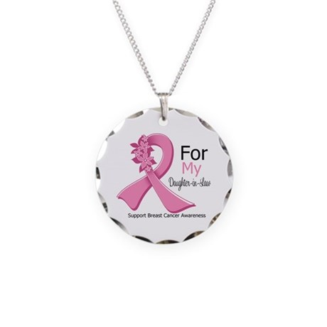 DaughterInLaw Breast Cancer Necklace Circle Charm