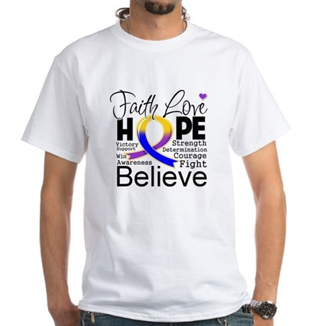 Faith Hope Bladder Cancer White T-Shirt