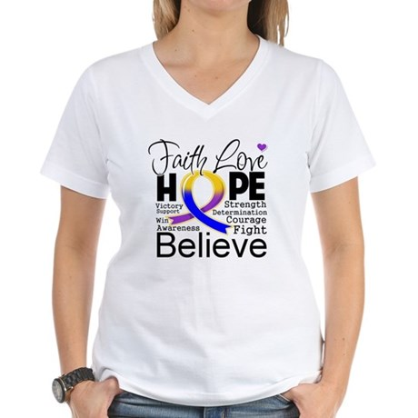 Faith Hope Bladder Cancer Women's V-Neck T-Shirt