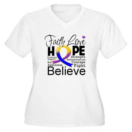Faith Hope Bladder Cancer Women's Plus Size V-Neck