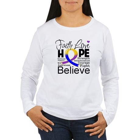 Faith Hope Bladder Cancer Women's Long Sleeve T-Sh