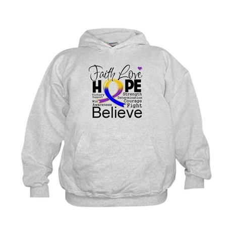 Faith Hope Bladder Cancer Kids Hoodie