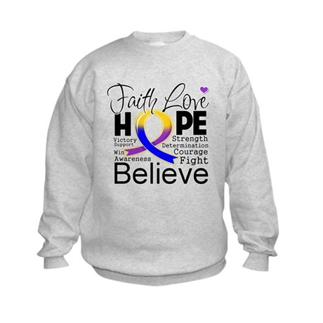 Faith Hope Bladder Cancer Kids Sweatshirt