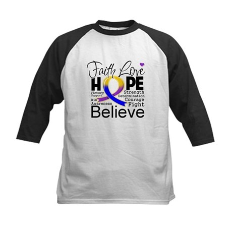 Faith Hope Bladder Cancer Kids Baseball Jersey