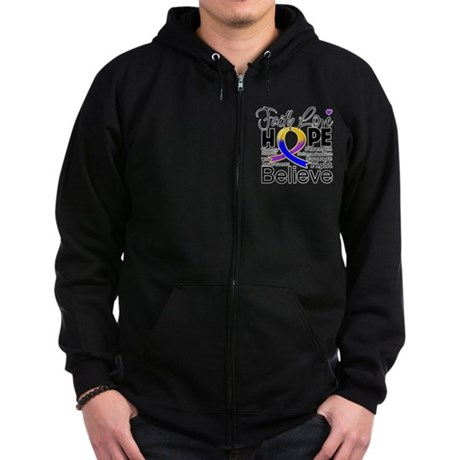 Faith Hope Bladder Cancer Zip Hoodie (dark)