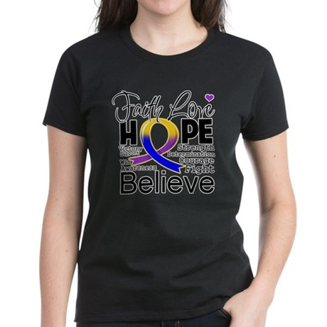 Faith Hope Bladder Cancer Women's Dark T-Shirt