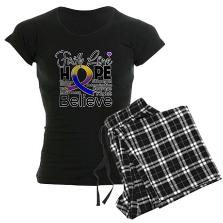 Faith Hope Bladder Cancer Women's Dark Pajamas