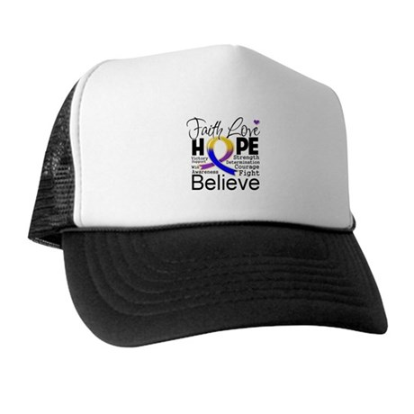 Faith Hope Bladder Cancer Trucker Hat