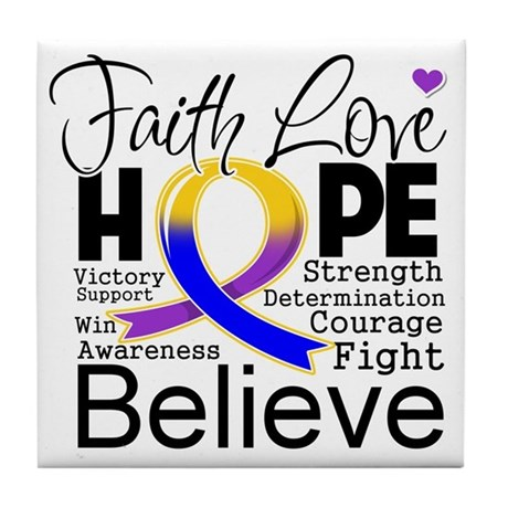Faith Hope Bladder Cancer Tile Coaster