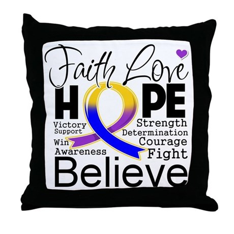 Faith Hope Bladder Cancer Throw Pillow