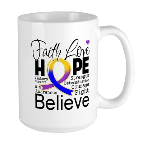Faith Hope Bladder Cancer Large Mug