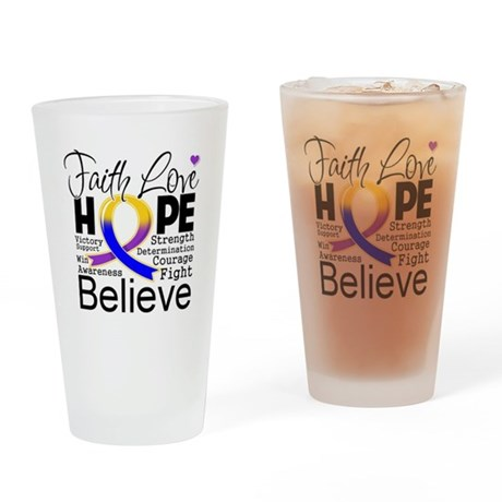 Faith Hope Bladder Cancer Drinking Glass