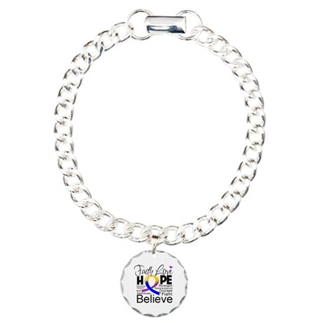 Faith Hope Bladder Cancer Charm Bracelet, One Char