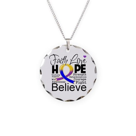 Faith Hope Bladder Cancer Necklace Circle Charm