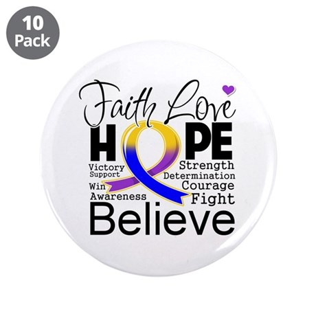 "Faith Hope Bladder Cancer 3.5"" Button (10 pack)"