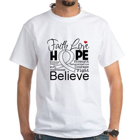 Faith Hope Bone Cancer White T-Shirt