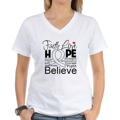 Faith Hope Bone Cancer Women's V-Neck T-Shirt