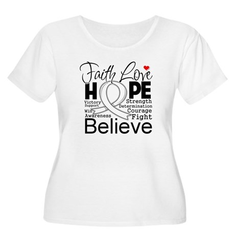 Faith Hope Bone Cancer Women's Plus Size Scoop Nec