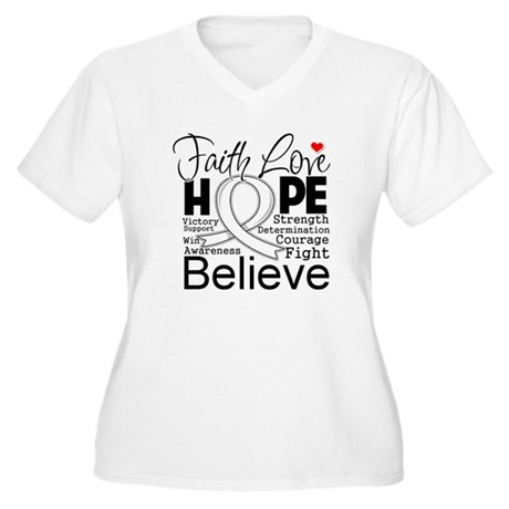 Faith Hope Bone Cancer Women's Plus Size V-Neck T-