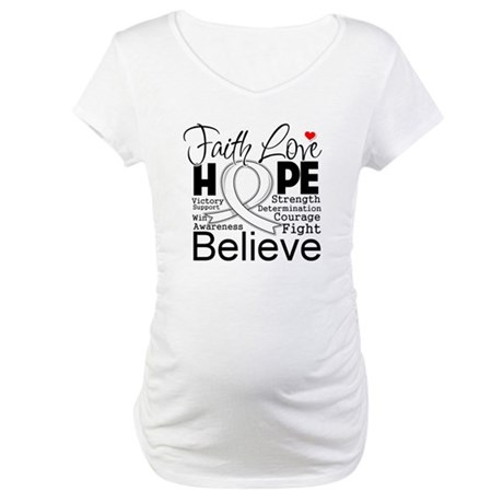 Faith Hope Bone Cancer Maternity T-Shirt