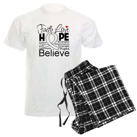 Faith Hope Bone Cancer Men's Light Pajamas