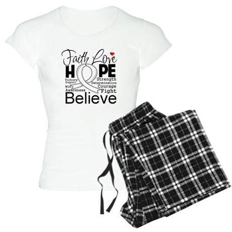 Faith Hope Bone Cancer Women's Light Pajamas