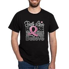 Faith Hope Breast Cancer T-Shirt