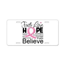 Faith Hope Breast Cancer Aluminum License Plate