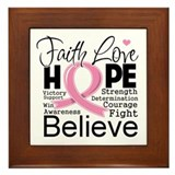 Faith Hope Breast Cancer Framed Tile