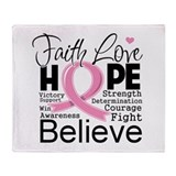 Faith Hope Breast Cancer Throw Blanket