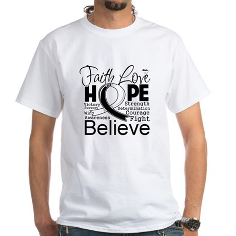 Faith Hope Carcinoid Cancer White T-Shirt