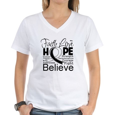 Faith Hope Carcinoid Cancer Women's V-Neck T-Shirt