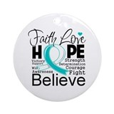 Faith Hope Cervical Cancer Ornament (Round)