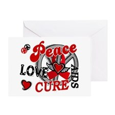 Peace Love Cure AIDS 2 Greeting Card