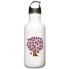 Purple Ribbon Awareness Tree Water Bottle