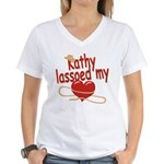 Kathy Lassoed My Heart Women's V-Neck T-Shirt
