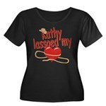 Kathy Lassoed My Heart Women's Plus Size Scoop Nec