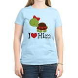I Heart Him Couples Turtle T-Shirt