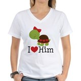 I Heart Him Couples Turtle Shirt