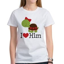 I Heart Him Couples Turtle Tee