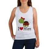 I Heart Him Couples Turtle Women's Tank Top