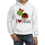 I Heart Him Couples Turtle Hooded Sweatshirt