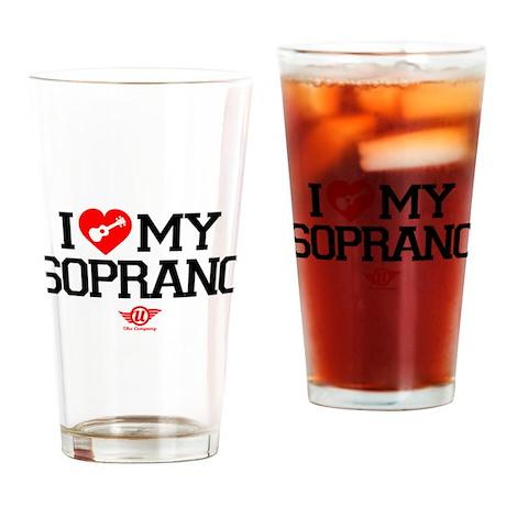 I Love My Soprano Ukulele Drinking Glass