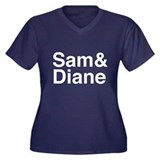 Sam & Diane Women's Plus Size V-Neck Dark T-Shirt