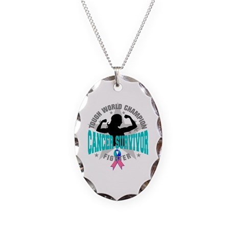 Tough Thyroid Cancer Survivor Necklace Oval Charm