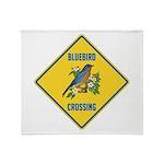 Blue Jay Crossing Sign Throw Blanket