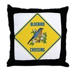 Blue Jay Crossing Sign Throw Pillow