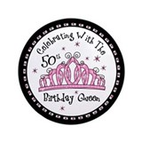 Tiara 50th Birthday Queen CW 3.5&quot; Button